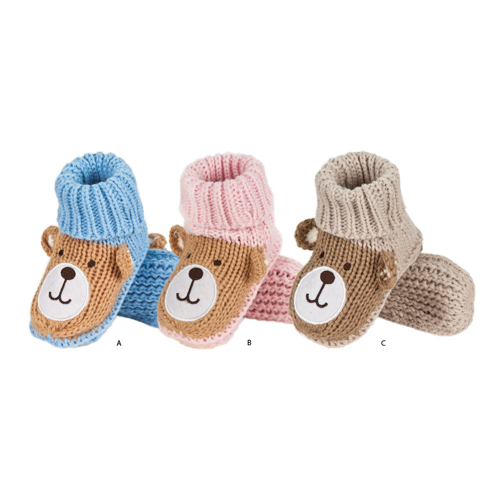 Baby Knitting Shoes Products : Soxo knitted baby slippers with teddy in gift box babies