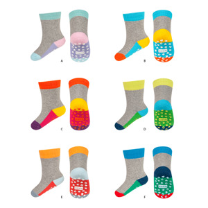 SOXO terry socks with colorful sole + ABS