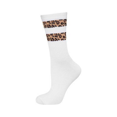 SOXO women's socks with panther stripes - white