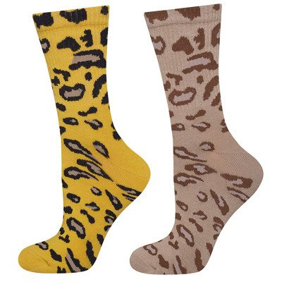 SOXO women's socks with yellow and beige panther - 2 pack