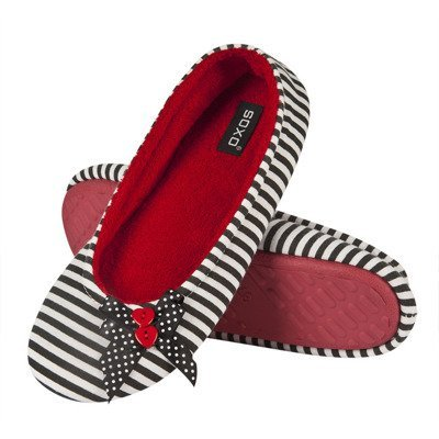 Women's slippers BALLERINS SOXO with buttons - red