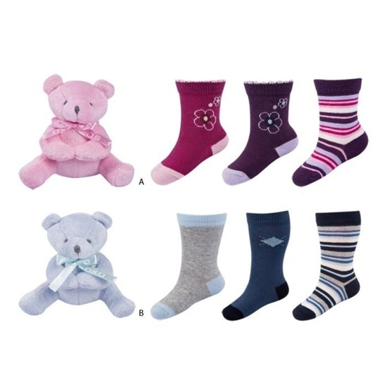 SET SOXO baby socks 3 pairs + TEDDY BEAR mascot in decorative packaging