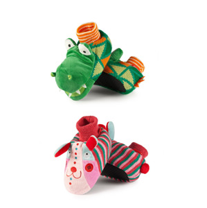Children's slippers SOXO knitted with ABS - Crocodile & Rabbit