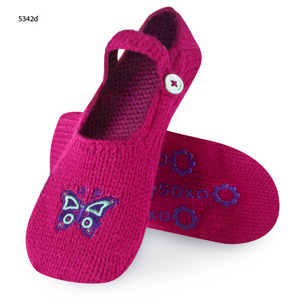SOXO Women's knitted ABS slippers - flowers and butterflies