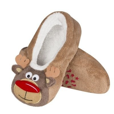 SOXO Christmas slippers 3D 'Reindeer face' brown