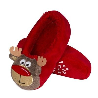 SOXO Christmas slippers 3D 'Reindeer face' red