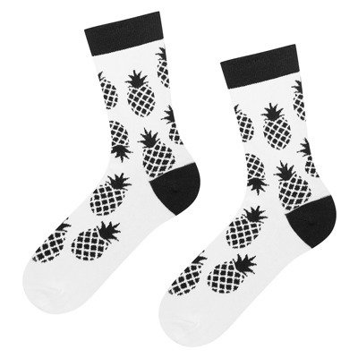 "SOXO GOOD STUFF Women's socks black and white ""Pineapple"""