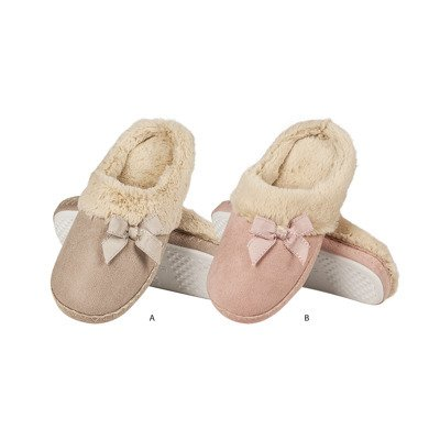 SOXO Women's furry slippers with a bow