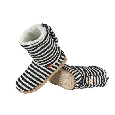 SOXO Women's high boot slippers in stripes