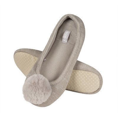 SOXO Women's knited slippers with pompom 'Grey'