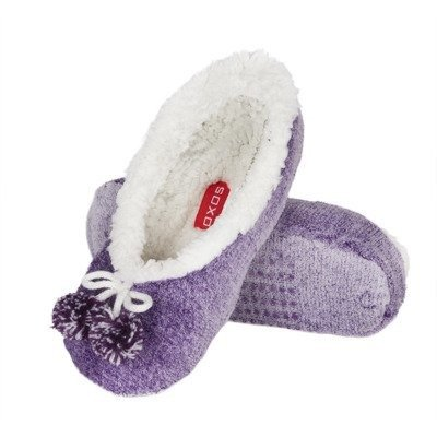 SOXO Women's plush ballerinas with pompons