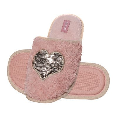 SOXO Women's slippers 'Sequin heart' pink