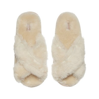 SOXO Women's slippers sheepskin beige