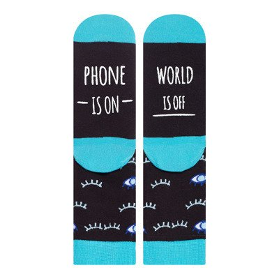 "SOXO Women's socks ""Phone is on, world is off"""