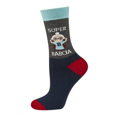 SOXO Women's socks SUPER BABCIA (polish text)