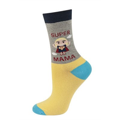 SOXO Women's socks SUPER MAMA (polish text)
