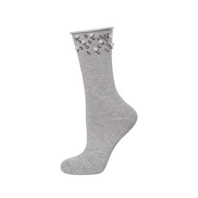 SOXO Women's socks with 'Pearls' grey