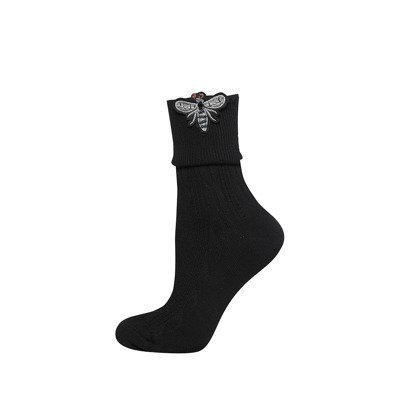 SOXO Women's socks with beetle applique 'black'