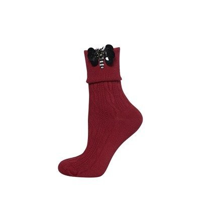 SOXO Women's socks with butterfly applique 'wine'