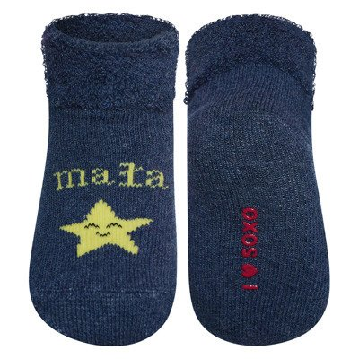 "SOXO baby socks with Polish text ""Mała gwiazda"""