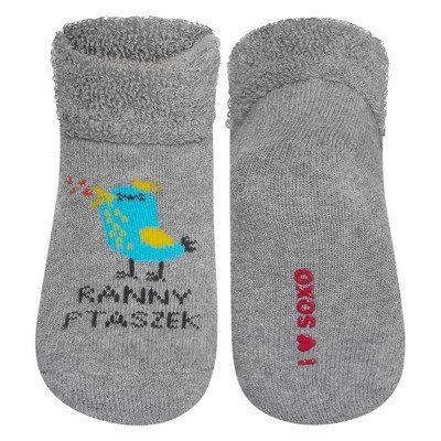 "SOXO baby socks with Polish text ""Ranny ptaszek"""