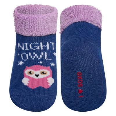 "SOXO baby socks with text ""Night owl"""