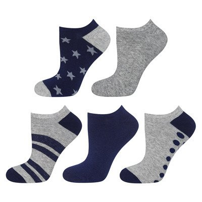 SOXO feet for boys gray / navy BASIC - 5-pack