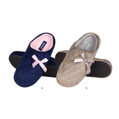 SOXO quilted slippers with bow
