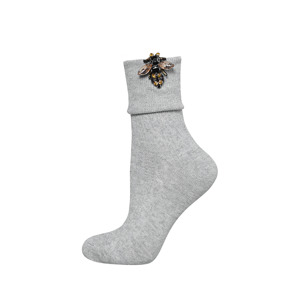 SOXO Women's socks with bee applique 'grey'