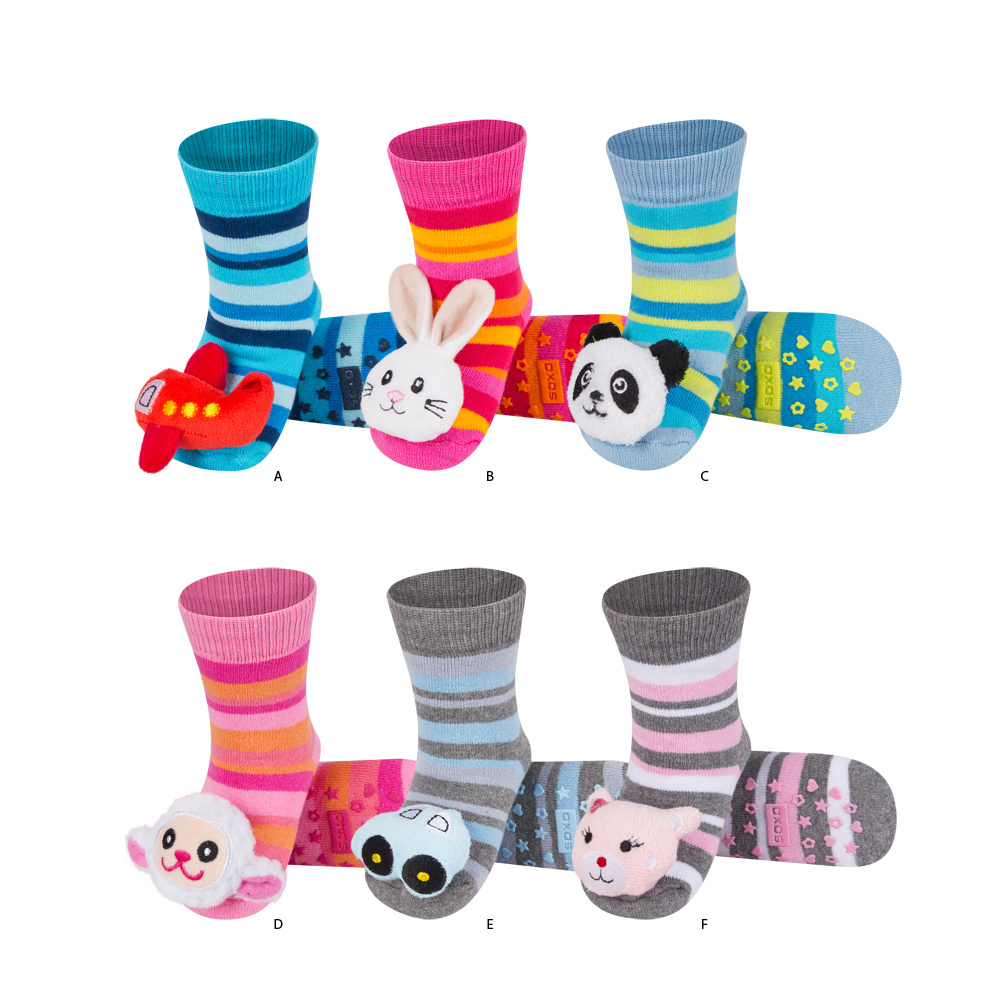 SOXO babys SOCKS with a beautiful RATTLE High Quality Colorful Cotton