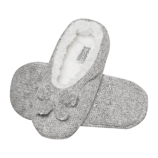 SOXO Ballerina slippers with fur lining + bow