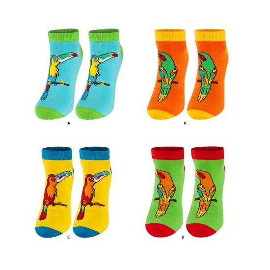 SOXO Women's footies 4 pairs - parrots + mobile phone covers