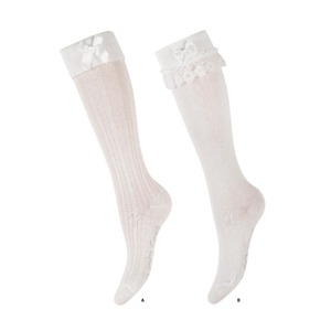 Children's socks SOXO with frill and bow - WHITE STYLE