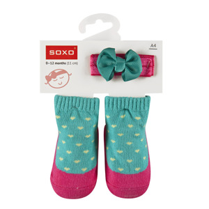 SOXO Baby Set: Socks + headband with a bow
