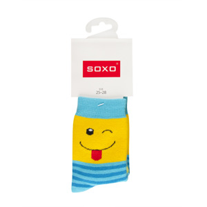 SOXO Children's terry socks with happy faces
