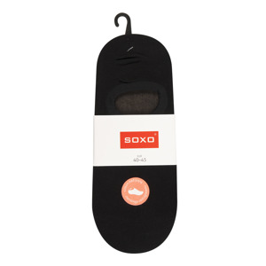 SOXO Men's black footies with silicon on heel