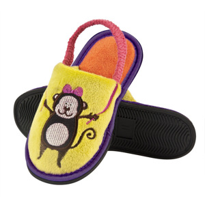 "SOXO children's slippers with an exposed heel - ""Little Princess ... and her funny Monkey!"""