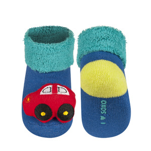 SOXO infant socks with animal-rattle
