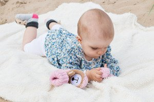 SOXO knitted baby slippers with teddy in gift box