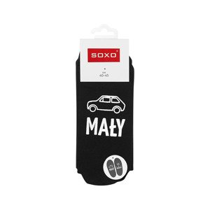 "SOXO men's socks with the Polish text ""mały, ale wariat"""