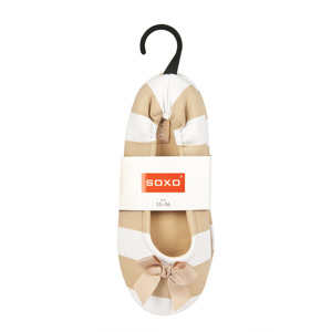 SOXO stripped ballerina slippers with bow