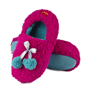 SOXO women's ballerina with a soft ABS sole - fluffy pompons