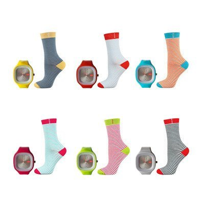 "SET Damensocken + Uhr SOXO - ""Watch My Socks"""