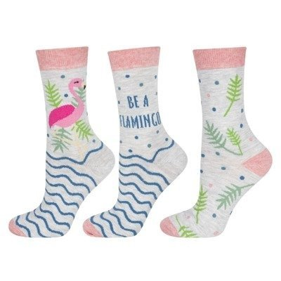 "SOXO Damen Socken mit ""Be a flamingo"", 2 Paar"